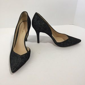 Nine West Jowzer, black and white heels, 7